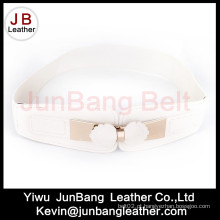 Wide White Elastic Belt for Female Alloy Buckle Wholesale