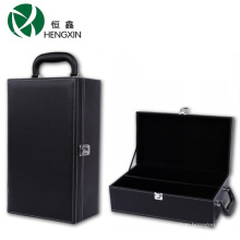 Fancy Black PU Wine Case for 2 Bottles