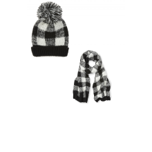 Black and White Check Beanie and Scarf