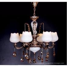Candelabro de cristal moderno branco liga de zinco do estilo francês da vela para o restaurante home do hotel