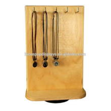 Fashion Ornaments Retail Store Tabletop Rotating 4-Way Hanging Wooden Neck Jewelry Display Rack