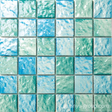 Mosaico in porcellana color verde e blu 6mm