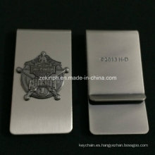 Stainless Steel Money Clip with Customized Raised Logo
