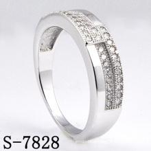 Moda 925 anel de prata ródio mulheres com cz (s-7828)