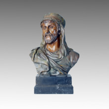 Bustes Bronze Sculpture Arab Male Figure Craft Deco Statue en laiton TPE-109