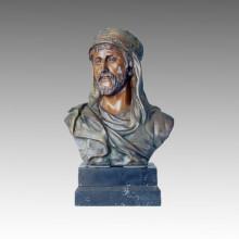 Bustos Bronze Escultura árabe Figura Masculina Artesanato Deco Latão Estátua TPE-109