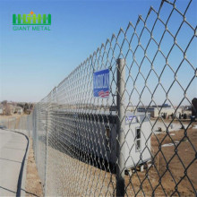 Diamond mesh fence installation
