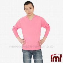 V-cuello jersey de cachemira de punto para los hombres
