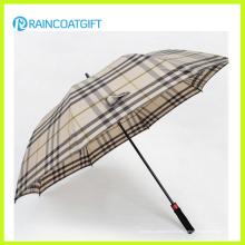 Paraguas al aire libre recto de la lluvia de la tela escocesa de la moda