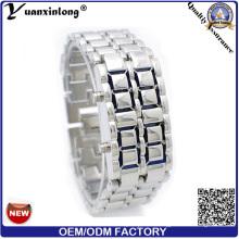 Yxl-148 reloj de acero inoxidable moda reloj binario doble fila LED relojes hombre lava hombre hombres LED relojes