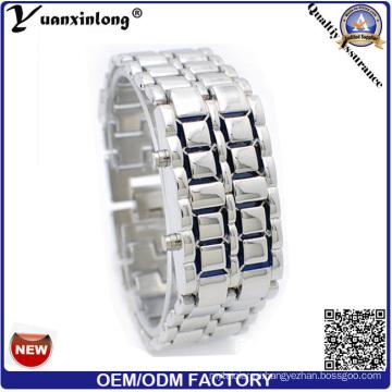 Yxl-148 мода из нержавеющей стали смотреть Box бинарные часы двухрядные светодиодные LED часы часы мужчины женщины Лава мужские