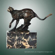 Animal escultura de bronce de leopardo tallado Deco latón de la estatua Tpal-291