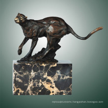 Animal Bronze Sculpture Leopard Carving Deco Brass Statue Tpal-291