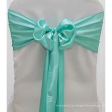 Aqua azul casamento decoração cetim cadeira caixilho