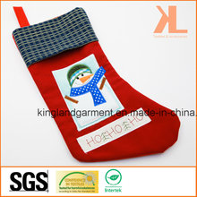 Качественная вышивка / аппликация Новогоднее украшение Снеговик в оконном чулке