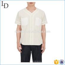 Кнопка спереди хлопок холст Бейсбол футболки однотонные мужские команды T рубашка