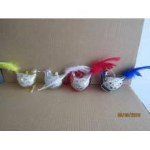 Ornamento do Natal Pássaro de vidro com pena