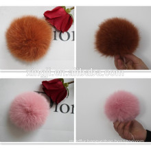Top quality dyed brown fox fur pompoms for scarf/hat/key chain