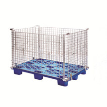 Metal Warehouse Storage Cage with Plastic Pallet Style