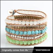 2015 opal beads Rocker Leather Wrap Bracelets