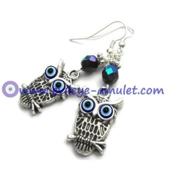 Evil Eye Owl Dangle Earrings, Antique Silver Blue Earrings