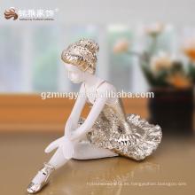 Decoración para el hogar Vividamente bella bailarina de ballet decorativo de plata de oro resina frente salón decoración bailarina estatua resina artesanía
