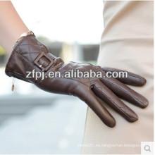 Guante de mano de cuero de cordero de las mujeres de la manera