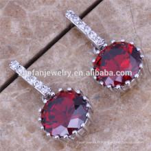 Wholesale ruby cubic zirconia boucles d'oreilles bijoux de mode coréenne