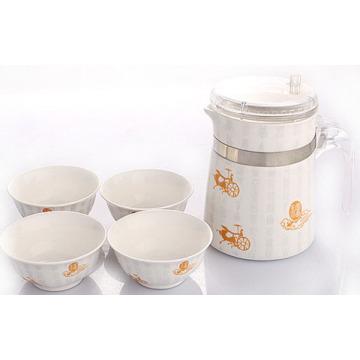 Caldera de cerámica de alta calidad con 4 tazas