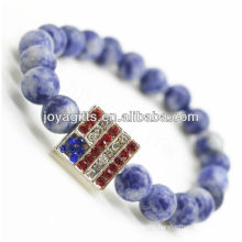 Semi Precious Stone Sodalite With Diamante Alloy Bracelet