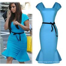 Women Pencil Dress Lady Blue Fishtail Party Dress