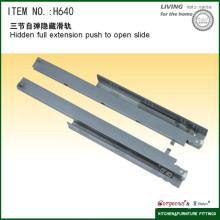 Hidden full extension push to open slide tandem conceal drawer slides H640
