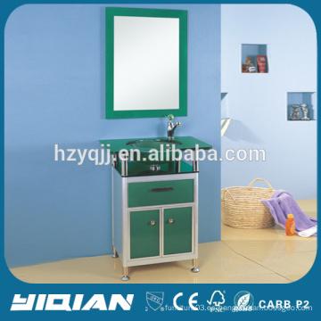 Nueva lavabo de cristal de lavabo con el gabinete de baño de aluminio