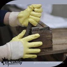 SRSAFETY 100% блокировочный вкладыш 3/4 желтый Дешевые перчатки с нитриловым покрытием / нитриловые рабочие перчатки