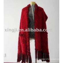 Xaile de pele de malha tricotada com bolso
