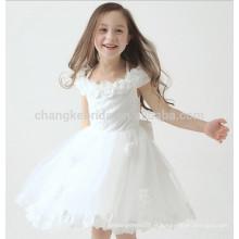 Lovely Flower Ruched Girls Vestido de noite Vestido de noiva Lace Applique Tulle Children Dress