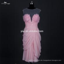 RSE677 Chiffon Design Peach Farbe Sexy Smart Abendkleider kurz