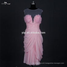 RSE677 Chiffon Design Peach Color Sexy Smart Evening Dresses Short