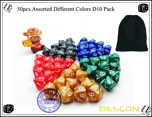 50pcs Assorted Different Colors D10 Pack
