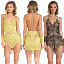 2015 Sexy Backless See-Through Lace Short Dress for Lady