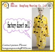 100% Polyester coral fleece print custom bathrobe for men