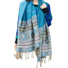 China new design women autumn winter warm ornament jacquard pashmina scarf with tassel