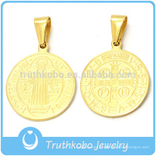 Aço Inoxidável 316l Stianless Saint Benedict Round Jubilee Religious Medal