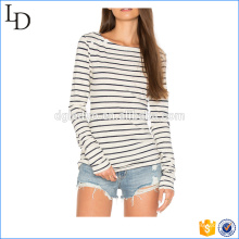 Moda feminina manga longa listras camiseta desgaste de fitness OEM