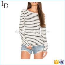 Мода женщин длинный рукав полоски футболка ОЕМ износ пригодности