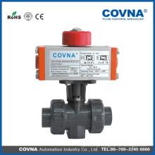 Válvula de esfera pneumática do PVC da válvula válvula de esfera do tratamento de água da união dobro