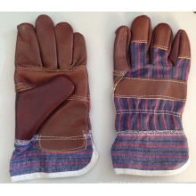 Dark Brown Patched Palm Furniture Leather Work Glove-4001