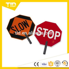 "ABS Plastic Paddle Sign, Legend ""STOP/SLOW"", 27"" Height, Red on Orange"