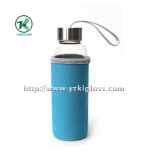 Glass Bottle with Neoprene Fabrication Oversleeve Stainless Steel Lid, ,