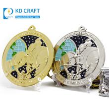 Wholesale personalized custom metal embossed 3d logo gold silver sport powerlifting weightlifting medal for winner